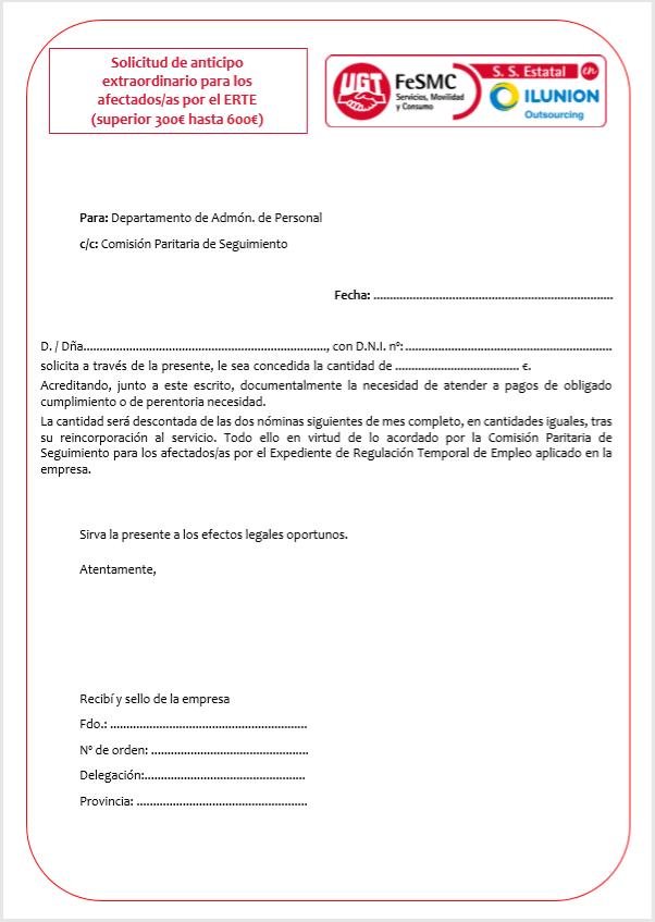 Solicitud de anticipo ERTE Necesidades perentorias (Outsourcing)
