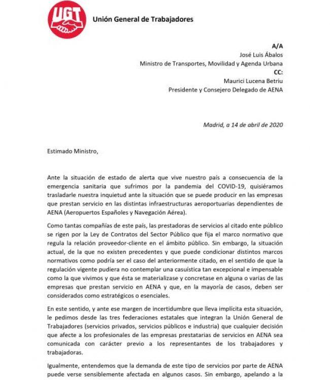 Carta al Ministro de Transportes