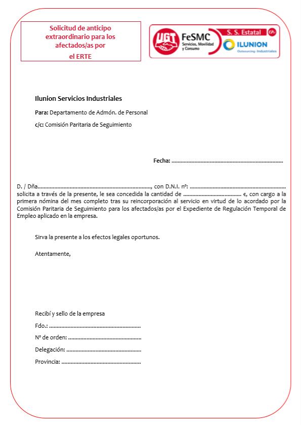 Solicitud anticipo ERTE (Ilunion Servicios Industriales)