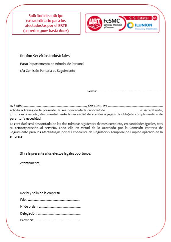 Solicitud de anticipo ERTE Necesidades perentorias (Ilunion Servicios Industriales)