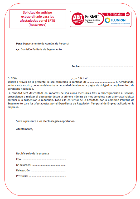 Solicitud de anticipo ERTE (Ilunion Outsourcing - Ilunion CEE Outsourcing)